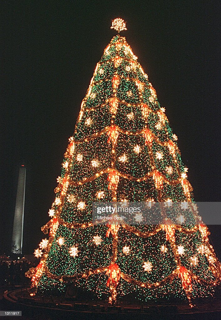 The National Christmas tree with the Washington Monument in the background December 11, 2000 in Washington.