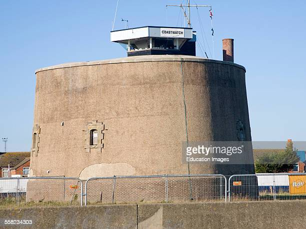 The National Coastwatch Institution lookout in martello tower P at Felixstowe Suffolk England