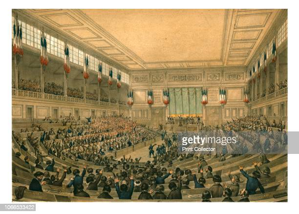 The National Constituent Assembly , May 1848. 'Proclamation of a united and indivisible republic by the representatives of the people'. Depiction of...