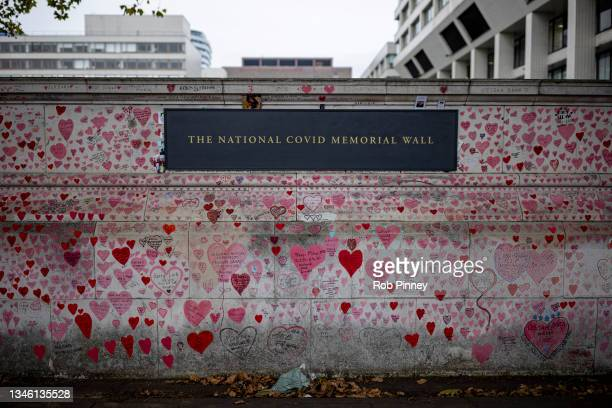 The National Covid Memorial Wall on October 12, 2021 in London, England. A 150-page report published today by the Health and Social Care Committee...