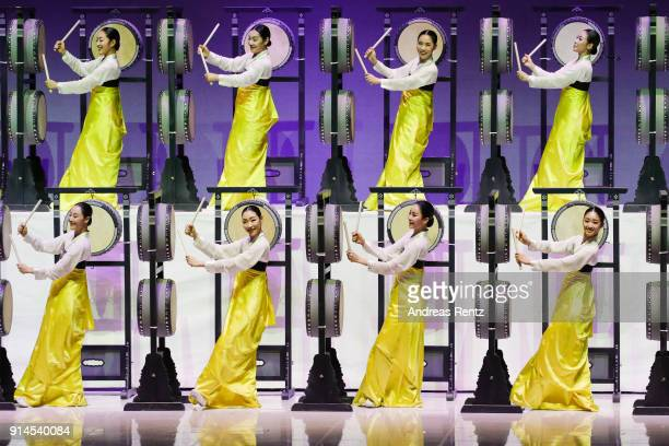 The National Dance Company of Korea demonstrate a 'Five Drum Dance' performance during the opening ceremony of the 132nd IOC session ahead of the...