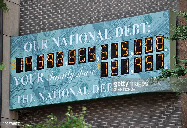 The National Debt Clock a billboardsize digital display showing the increasing US debt near an office of the Internal Revenue Service on Sixth Avenue...