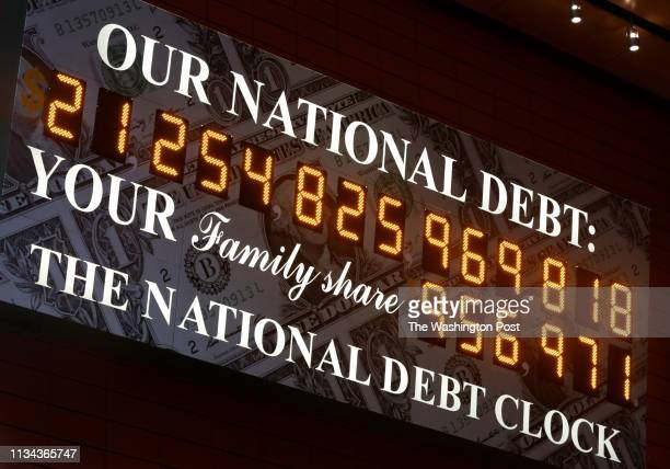 The National Debt Clock in Manhattan NY created by Seymour Durst seen outside of the Bank of America Tower on September 20 2018 His son Douglas Durst...