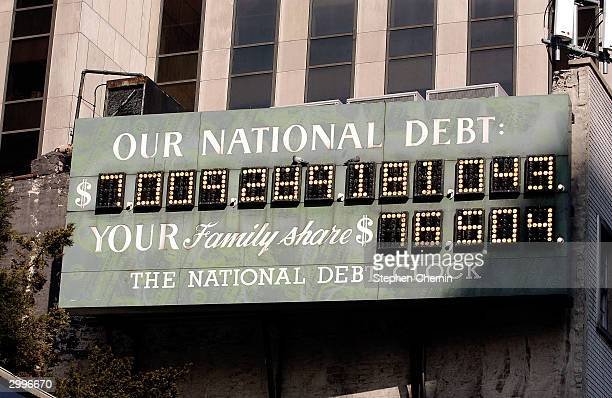 The National Debt Clock is seen February 19 2004 in New York City According to a Treasury Department report the US governments national debt the...