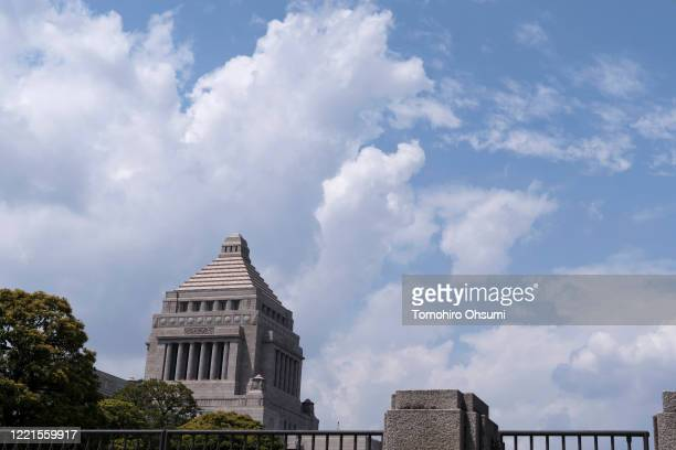 The National Diet building is seen on April 28, 2020 in Tokyo, Japan. Japan's government submitted a ¥25.69 trillion reworked supplementary budget to...