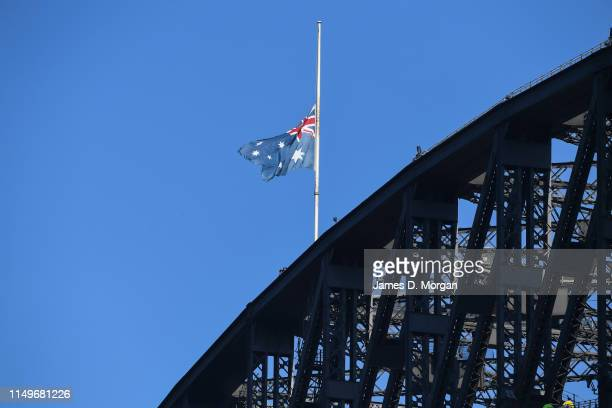 The national flag of Australia on the Sydney Harbour Bridge flies at half mast in tribute to former Australian Prime Minister Bob Hawke on May 17...