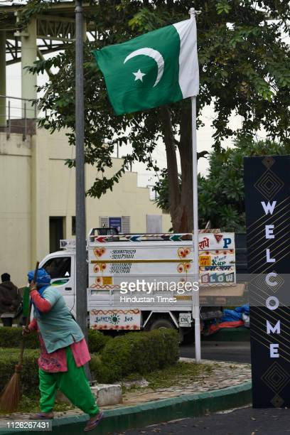 The national flag of Pakistan is seen at the International Shooting Sport Federation World Cup at Dr Karni Singh Shooting Range on February 20 2019...