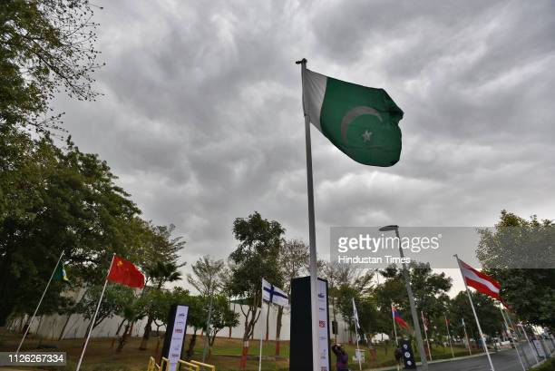 The national flag of Pakistan is seen at the ISSF Rifle and Pistol World Cup at Dr Karni Singh Shooting Range on February 20 2019 in New Delhi India...