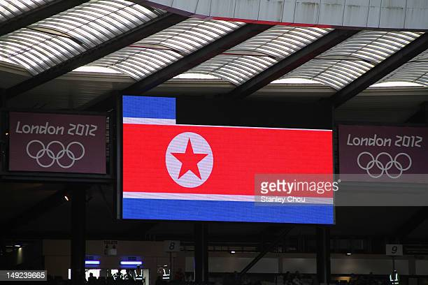 The national flag of the Democratic Peoples Republic of Korea is displayed on a large screen before the Women's Football first round Group G Match of...