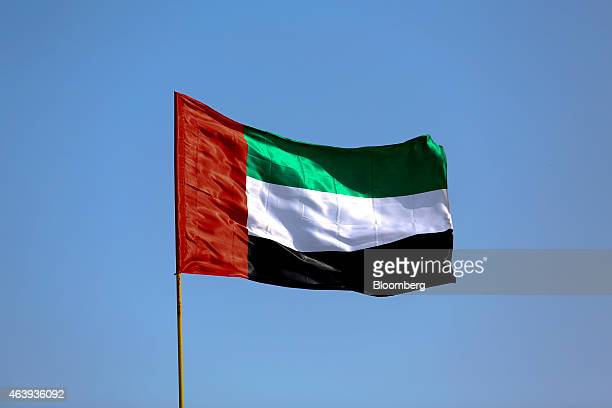 The national flag of the United Arab Emirates flies from a pole on Jumeirah beach in Dubai United Arab Emirates on Friday Nov 7 2014 The United Arab...