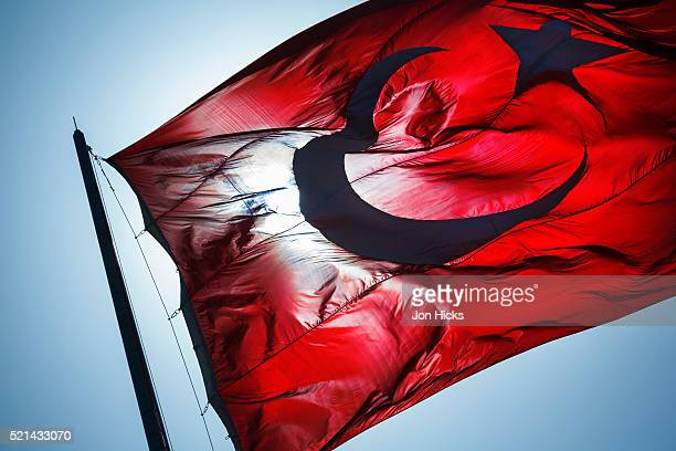 The national flag of Turkey.