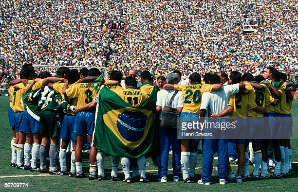 The national football team of Brazil celebrates after the World Cup final match between Brazil and Italy on July 17, 1994 in Los Angeles, United...