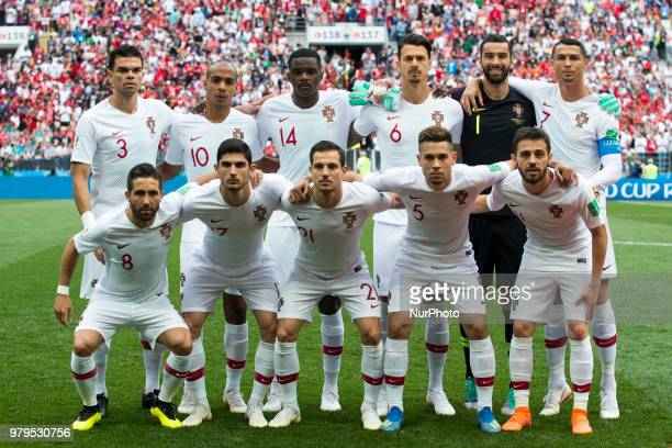 The national football team of Portugal poses for photo during the 2018 FIFA World Cup Group B match between Portugal and Morocco at Luzhniki Stadium...