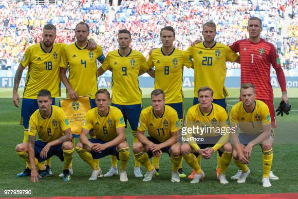 The National football team of Sweden poses for photo during the 2018 FIFA World Cup Group F match between Sweden and Korea Republic at Nizhny...