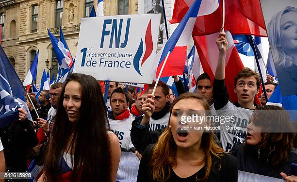 The National Front, Front National, president of the far right party, Marine Le Pen who will also be a candidate at the 2017 French presidential...