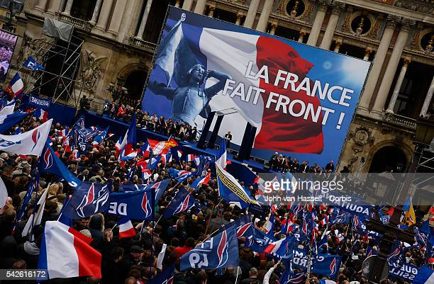 The National Front Front National president of the far right party Marine Le Pen who will also be a candidate at the 2017 French presidential...