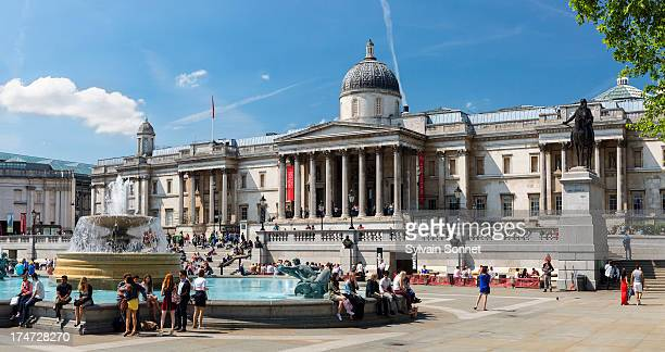 The National Gallery and fountains in Trafalgar Sq