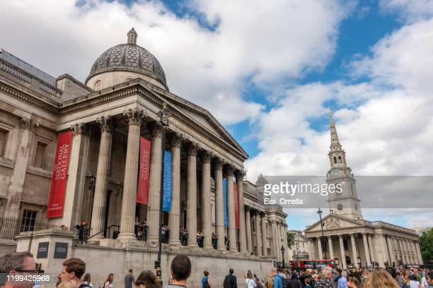the national gallery and st. martin in the fields at trafalgar square in london - national gallery london stock pictures, royalty-free photos & images