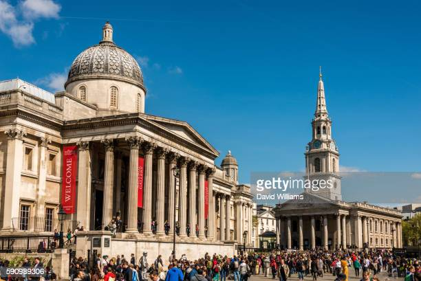 the national gallery and st martin in the fields church on trafalgar square, london, england. - national gallery london stock pictures, royalty-free photos & images