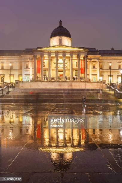 the national gallery and trafalgar square in london england uk - national gallery london stock pictures, royalty-free photos & images