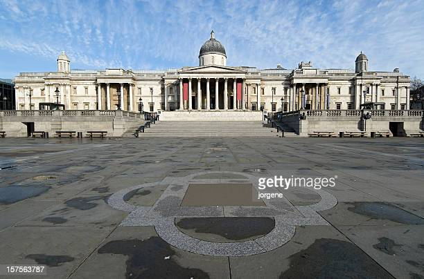 the national gallery at trafalgar square, london - trafalgar square stock pictures, royalty-free photos & images