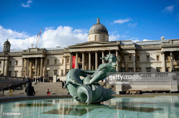 the national gallery in trafalgar square, london - national gallery london stock pictures, royalty-free photos & images
