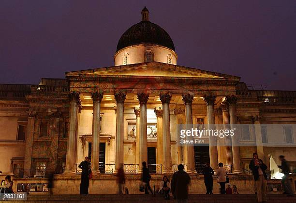 The National Gallery is lit up like a Christmas present as part of a number of switchon ceremonies leading up to Christmas December 24 2003 in London