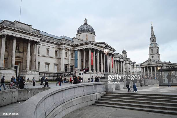 the national gallery - london, uk - monument station london stock photos and pictures