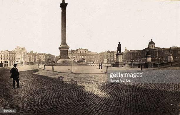 The National Gallery Nelson's Column and the statue of British soldier Sir Henry Havelock at Trafalgar Square