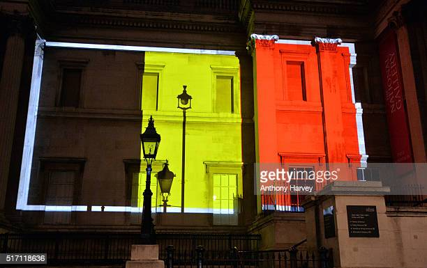 The National Gallery one of many London landmarks which have been lit up in support of Belgium following the terrorist attacks in Brussels yesterday...