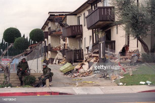 The National Guard in front of the Northridge Meadows apartments on January 24 where 16 people died during the earthquake in the night of January 17...