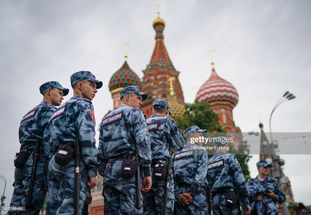 The National Guard patrol Red Square and St Basil's Cathedral ahead of the World Cup on June 12, 2018 in Moscow, Russia. Moscow and Russia are gearing up for the start of the World Cup tournament. FIFA expects more than three billion viewers for the World Cup that begins this week in Russia.