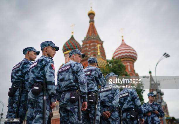 The National Guard patrol Red Square and St Basil's Cathedral ahead of the World Cup on June 12 2018 in Moscow Russia Moscow and Russia are gearing...