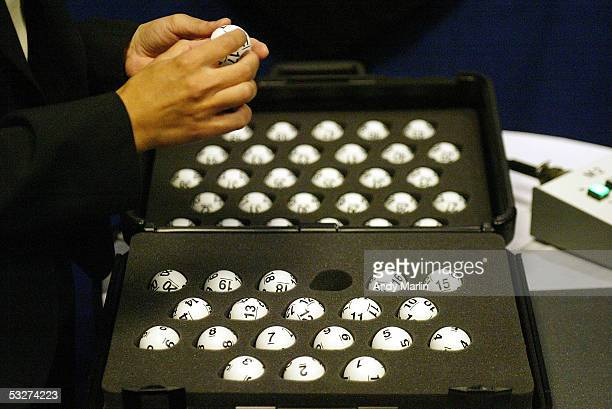 The National Hockey League draft balls are checked prior to the lottery at the Sheraton New York Hotel and Towers on July 22 2005 in New York City
