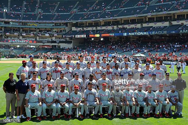 The National League AllStars pose for their team photo before the 81st MLB AllStar Game at Angel Stadium of Anaheim on July 13 2010 in Anaheim...