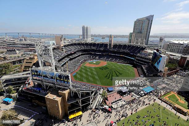 The National League AllStars take batting practice before the 87th Annual MLB AllStar Game at PETCO Park on July 12 2016 in San Diego California