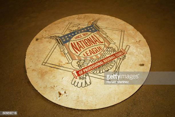 The National League Baseball logo on the field behind the plate during the game between the Chicago Cubs and the Houston Astros at Minute Maid Park...