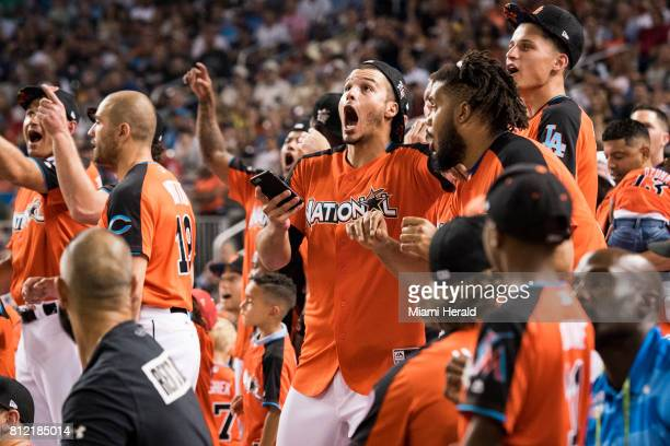 The National League players react to an Aaron Judge homer at the MLB All Star Game Homerun Derby at Marlins Park on Mon July 10 2017