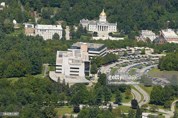 The National Life building sits in the foreground with Montpelier, Vermont in background in aerial photo.