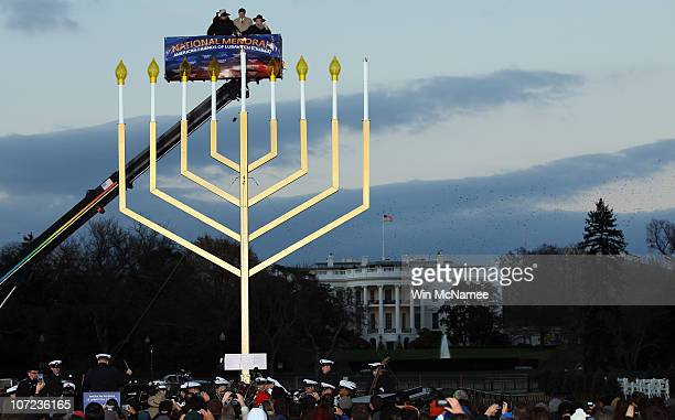 The National Menorah is lit for the first night of Chanukah by Rabbi Levi Shemtov OMB Director Jack Lew and Rabbi Abraham Shemtov on the National...
