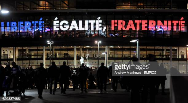 The national motto of France Liberte Egalite Fraternite which translates to Liberty Equality and Fraternity is displayed on Wembley Stadium in...