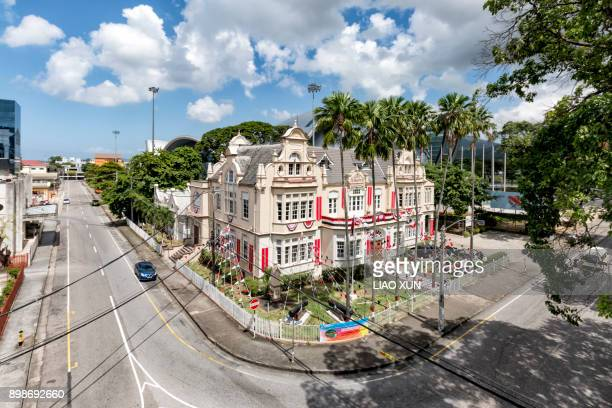 The National Museum and Art Gallery of Trinidad ang Tobago with independence day's decoration, Port of Spain