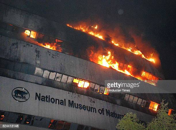 The National Museum of Natural History is seen engulfed in fire at Mandi House on April 26 2016 in New Delhi The fire started in the early hours of...
