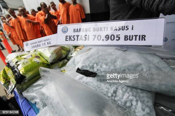 The National Narcotics Agency displays seized drugs at the National Narcotics Agency office in Jakarta Indonesia on March 08 2018 In February BNN...