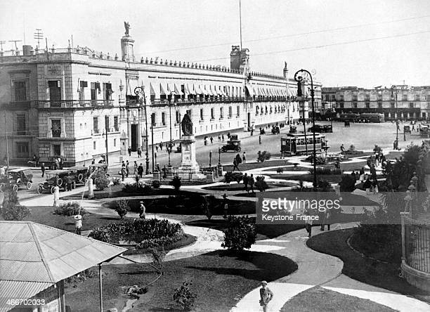 The National Palace on the Constitution Square or Zocalo headquarters of the power in 1928 in Mexico City Mexico
