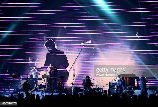 The National performs onstage during a special performance at the Los Angeles Screening Of 'Mistaken For Strangers' at The Shrine Auditorium on March...