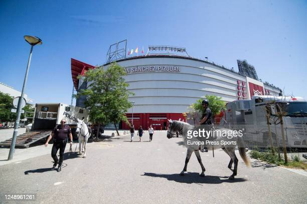 The National Police Cavalry prepares for the external protection at the Sanchez Pizjuan Stadium for the local derby between Sevilla FC and Real Betis...