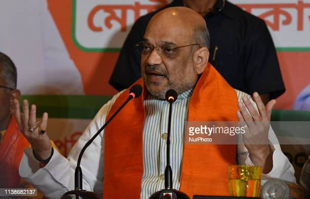 The national president of the Bhartiya Janta Party Amit Shah addresses the media prior to a rally as part of the election campaign in Kolkata on...