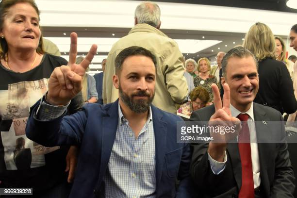 The National President of Vox Santiago Abascal and the ViceLegal Secretary Javier Ortega showing peace signs during the political event in Barcelona...