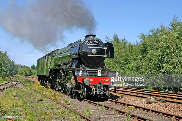 The National Railway Museum London North Eastern Railway steam locomotive 462 No 4472 'Flying Scotsman' built 1923 standing in the Workshop of the...